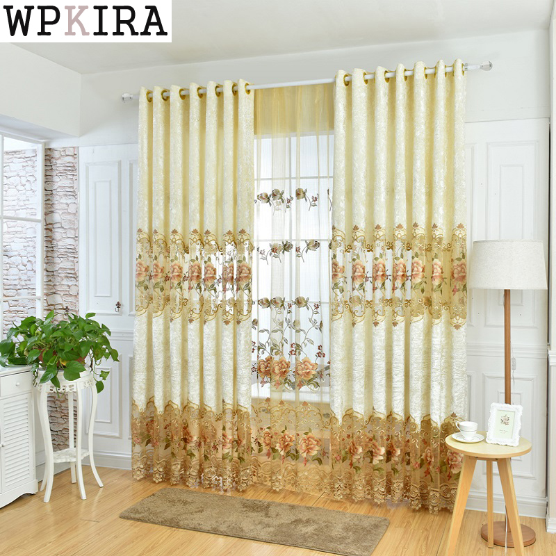 Hollow Embroidery Curtain Cloth Tulle Luxury Villa Curtains for Living Room  Fancy High-End Window Drapes Cortinas Rideaux 321&20 - Fancy Living Room Curtains Promotion-Shop For Promotional Fancy