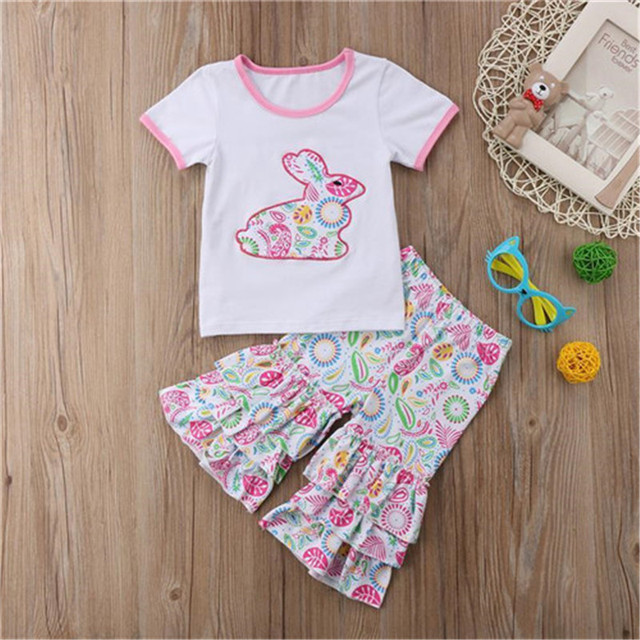 a87f57af30980 US $5.43 39% OFF|Toddler Kids Baby Girls Easter Outfit Clothes T shirt  Tops+Floral Pants 2PCS Set Kid Girl T Shiirt Pant Clothing Sets-in Clothing  ...
