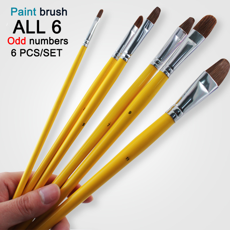 Free Shipping 6Pcs Odd Numbers Artist Wolf Horse Hair Paint Brush Set Acrylic Oil Painting Watercolor Art Supplies