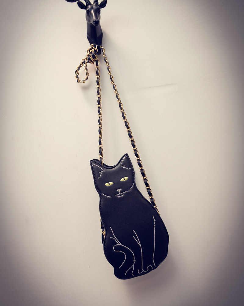 ¡Novedad! Bolso bandolera de gato negro con cadena para mujer, bolso de mensajero con diseño de Animal divertido y divertido