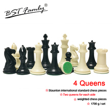 4 Queens Chess Set King Height 108mm Staunton International Standard Pieces Weighted Game for Match Club IA12