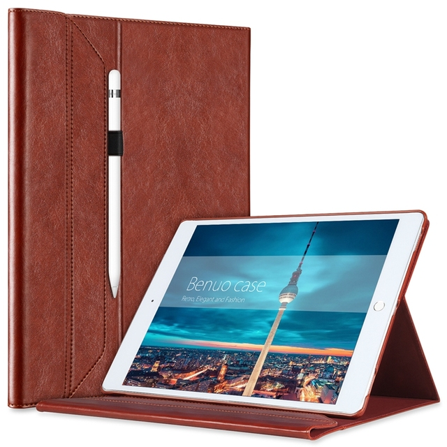 2e9dbce9a042a For iPad Pro 12.9 Case Leather W Pencil Holder For Apple Pencil  Invisible  Stand  Portfolio Case Smart Cover For iPad Pro 12.9