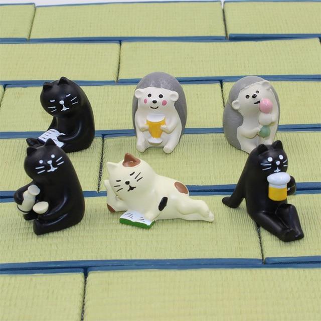 Decole Black Cat Bear Hedgehog Miniature figurine Japan Zakka Animal Home Decoration Garden Resin craft toy Bonsai Ornaments 1