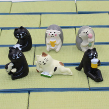 Decole Black Cat Bear Hedgehog hMiniature figurine Japan Zakka Animal Home Decoration Garden Resin craft toy Bonsai Ornaments