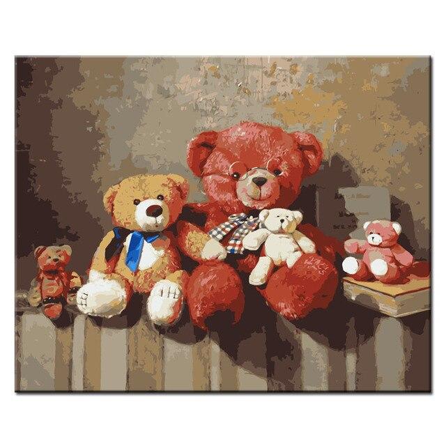 Qluo dibujos animados osos de peluche lindos patrón pintura al óleo ...