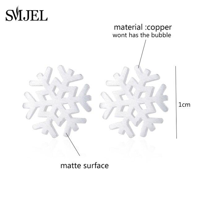 SMJEL mignon brossé géométrique flocon de neige boucles doreilles pour les femmes hiver noël bijoux fiançailles cadeaux Brincos nouvel an S214