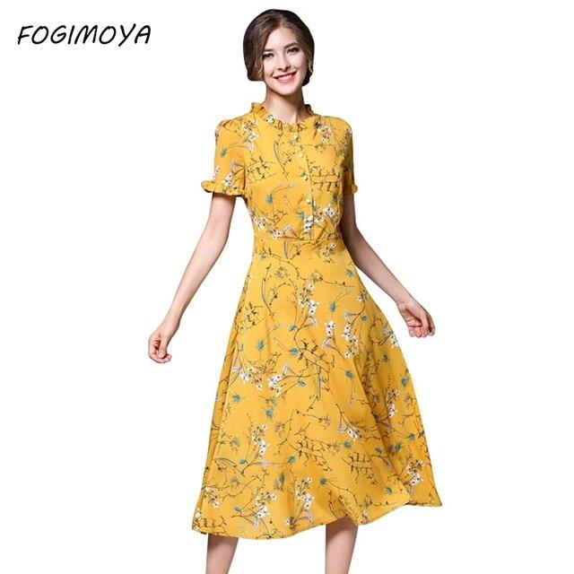 Fogimoya платье женские летние шифона с принтом Длинные платья женские короткий рукав с круглым вырезом Bodycon Длинные печати шифоновое платье новый бренд