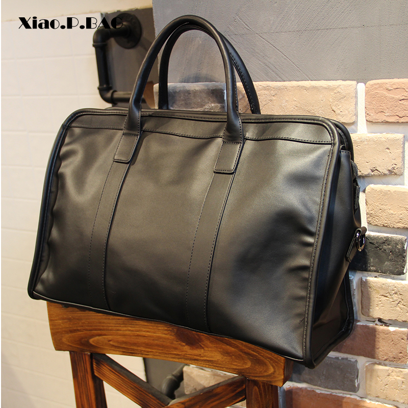 Men Business Bags Totes Superior Quality PU Leather Large Capacity 15 inch Laptop Bags Single Shoulder Bags Travel Duffle Bags-in Top-Handle Bags from Luggage & Bags