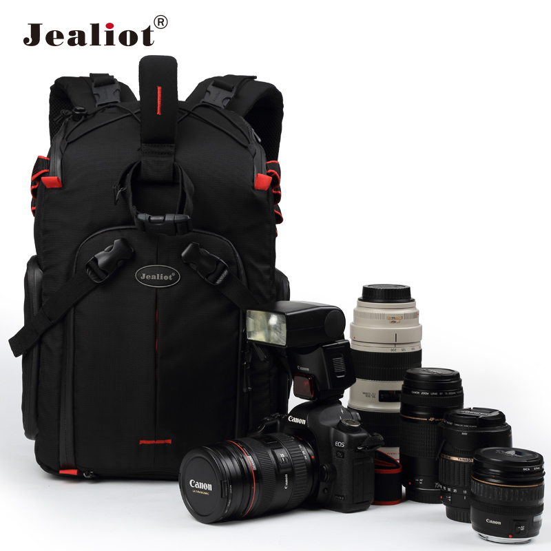 Jealiot SLR camera backpack DSLR Tripod Photo Digital Bag Rain Cover Lens Accessories bag 14 Inch Laptop Shockproof Waterproof shockproof dustproof camera tripod carry bag