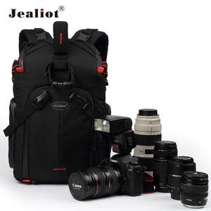 Image 1 - Jealiot SLR сумка для фотоаппарата рюкзак для фотоаппарата фоторюкзак чехол для линз сумки сумка для камеры Рюкзак DSLR цифровой 14 дюймов ноутбук фотография штатив дождевик объектив противоударный водонепроницаемый