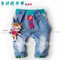 Новый 2014 Весна осень дети джинсы одежда для новорожденных девочек Джинсовые брюки ребенок случайные брюки ребенок нагрудник брюки девушка мило джинсовой комбинезоны