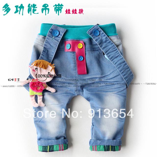 Nuevo 2014 del otoño del Resorte pantalones vaqueros de los niños del bebé muchachas de la ropa de Mezclilla pantalones del bebé pantalones casuales pantalones del babero del niño de la muchacha de mezclilla lindo overoles