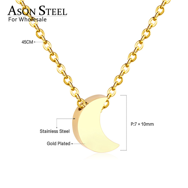 45cm Top 316L Stainless Steel Heart Moon Star CrossPendant Long Link Chains Necklaces Set Gold For Women Choker Necklace Jewelry 10
