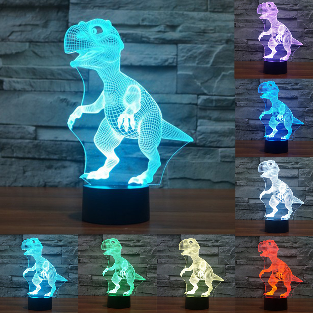 Novelty Touch Switch Desk Light Night Light Colorful USB LED Table acrylic Lamp 3D Illusion Dinosaur For Home Decor IY803330 icoco usb rechargeable led magnetic foldable wooden book lamp night light desk lamp for christmas gift home decor s m l size