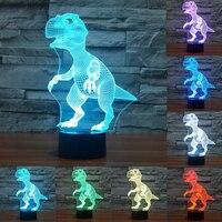 Novelty Touch Switch Desk Light Night Light Colorful USB LED Table Acrylic Lamp 3D Illusion Dinosaur