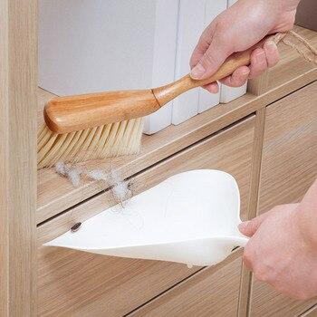 Vanzlife bamboo handle mini brooms shovel set household plastic cleaning brush small broom dust shovel 2