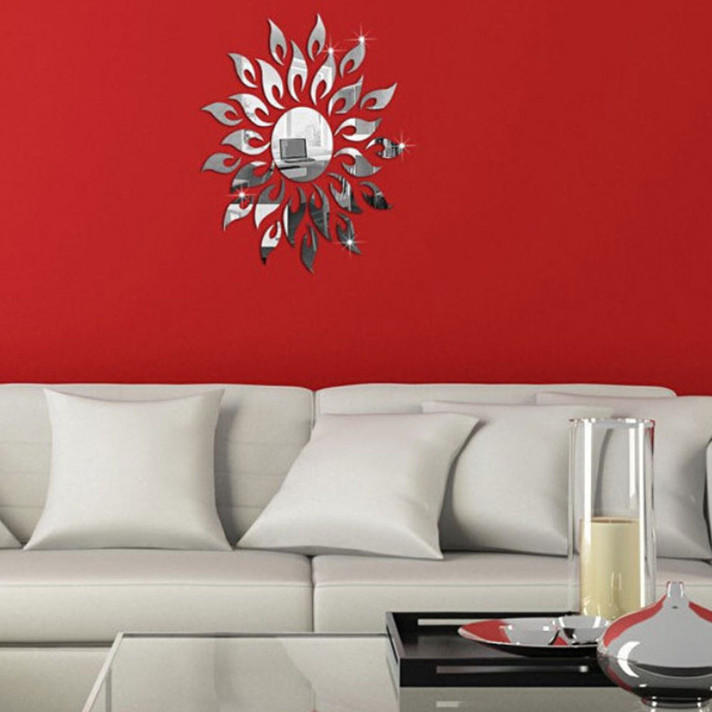 Image 1 - Acrylic mirror stickers living room bedroom wall stickers B Wall Sticker mirrored painted sticker espejos decorativos para pared-in Wall Stickers from Home & Garden