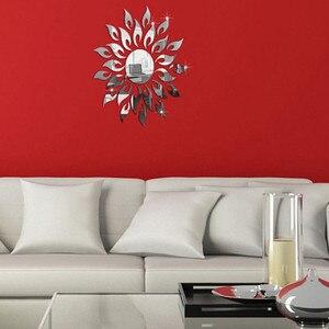 Image 1 - Acrylic mirror stickers living room bedroom wall stickers B Wall Sticker mirrored painted sticker espejos decorativos para pared