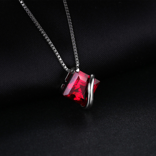 JewelryPalace Classic Square 3.3ct Created Red Ruby Pendant Charm 925 Sterling Silver Brand Wedding Fine Jewelry Without a Chain