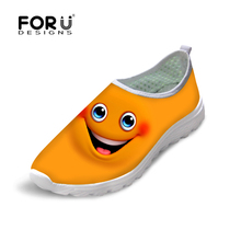 FORUDESIGNS Cute Smiley Face Printed Women Summer Spring Lightweight Mesh Shoes Leisure Ladies Emoji Flats Female Comfort Shoes