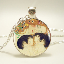 1pcs Gustav Klimt – Mother and Child Pendant Choker Statement Silver Necklace For Women Dress Accessories – Abaicer Jewelry HZ1