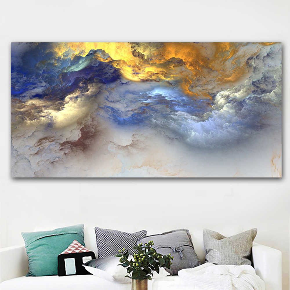 SELFLESSLY Colorful Cloud Abstract Art Canvas Painting For Living Room Wall Picture Landscape Art Poster Print Unframed