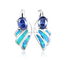 DORMITH 925 sterling silver earrings synthetic opal and cubic zirconia blue/white Wing stup earrings rhodium plated jewelry 10k white gold over sterling silver rhodium plated micro pave drop earrings