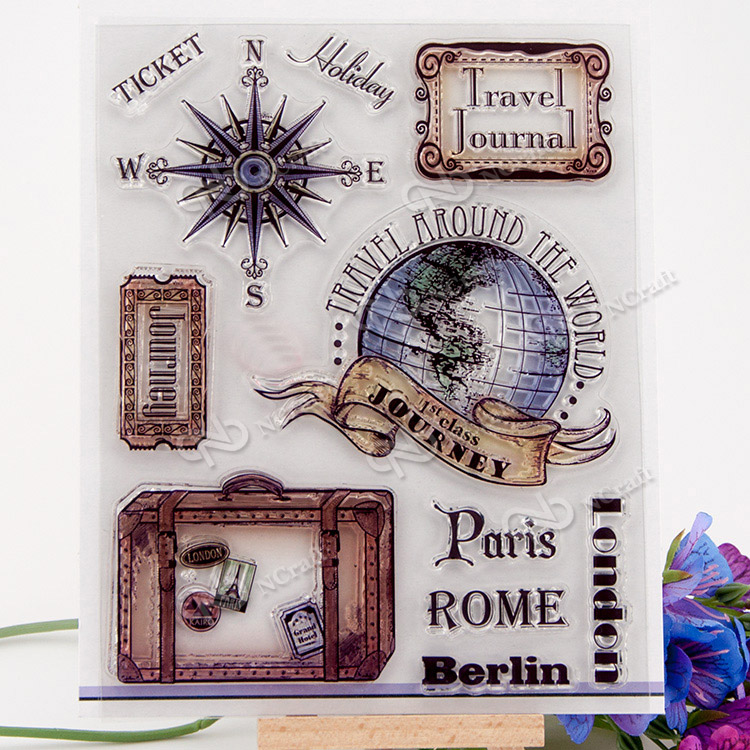 Global travel element Scrapbook DIY photo cards account rubber stamp clear stamp transparent handwork art seal school Kid gift купить