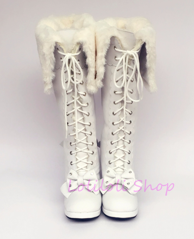 Princess sweet punk shoes loliloli yoyo Japanese design custom big size white genuine leather knee-high boots 9008