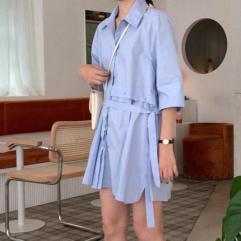 [EWQ] 2019 夏のソリッドカラーステッチレース半袖シャツルースファッショントレンド女性ブラウス QK43405