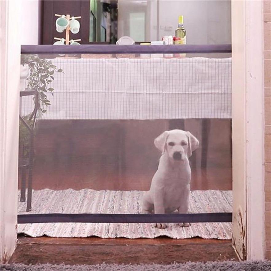 1 Set Pet Clôtures Chien Magique Porte Portable Pliant Sécurité Garde Pour Animaux Chien Chat Isolé Gaze 5O0611