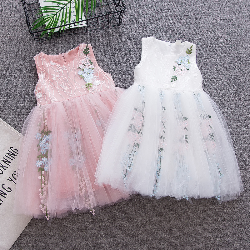 BibiaCola girls dress summer children mesh princess flowers dress summer tutu dress for girls kids girl clothes baby costume