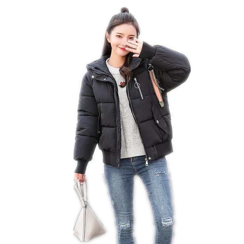 Streetwear Hooded Warm Winter Jacket Women 2018New Down   Parkas   Cotton Padded Jacket Girls Loose Short Female Jacket Coat CQ2565