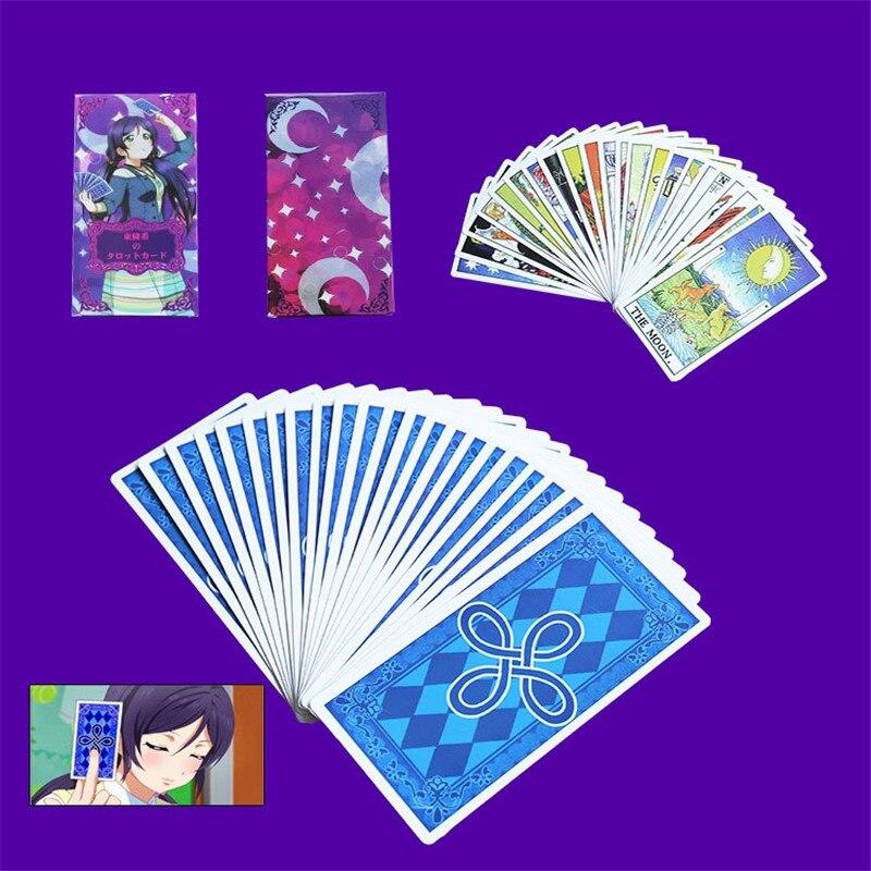 Takerlama Hot LOVE LIVE! Nozomi Tojo Tarot Cards Cosplay Game One Set 22pcs Major 56 Minor Arcana Key Card Cosplay Props