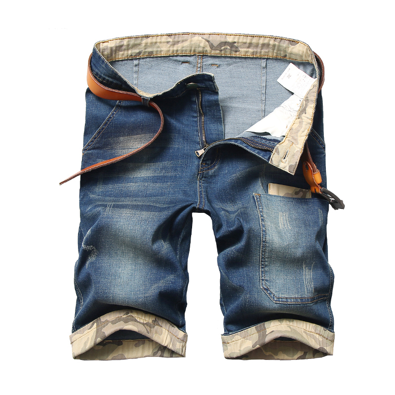Plus Size 42 44 46 48 Men's Denim Shorts 2020 Summer New Casual Camouflage Stitching Stretch Cotton Short Jean Male Brand image