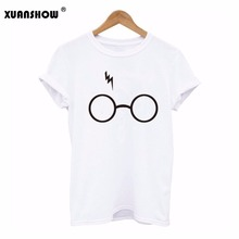 2017 New Harry Potter T Shirt Women New Printed T-shirt Short Sleeve Cotton Lightning Glasses T Shirts Top Tees S-XXL(China (Mainland))