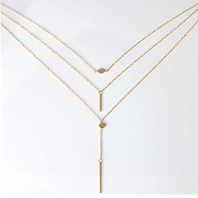 Collar con colgante de barra de puntos geométricos de múltiples capas con borlas largas para mujer, joyería de moda, Collares bohemios, regalo Bijoux