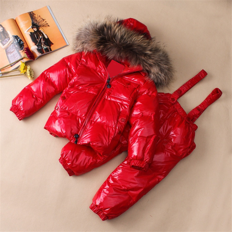 Children Natural Fur Collar Jackets+Jumpsuit Overalls 2Pc Snowsuit Kids Down Clothing Suit Boys Girls Ski Sets DK006 2016 winter boys ski suit set children s snowsuit for baby girl snow overalls ntural fur down jackets trousers clothing sets