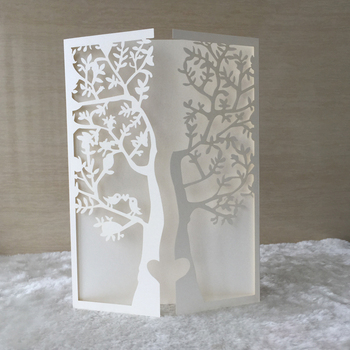 35pcs Laser Cut 250gsm Pearl Paper Christening & Baptism Greeting Blessing card tree with bird Design Wedding Invitation Cards