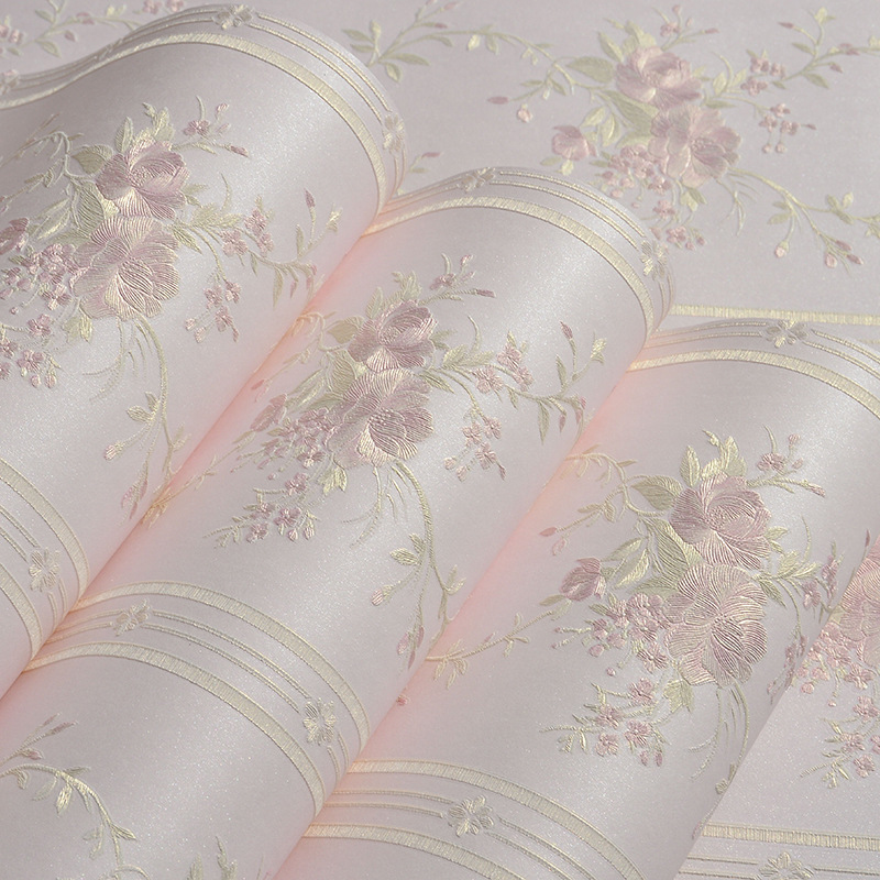 beibehang Mural Stripe Flowers Wallpaper roll Bedroom Living room Wall covering Papel De Parede 3D flooring contact-paper behang beibehang pastoral pink flowers wallpaper tv background papel de parede 3d mural wall paper roll for living room decor bedroom