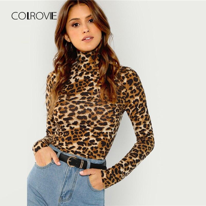 COLROVIE נמר גבוהה צוואר Workwear בסיסי חולצה נשים 2018 סתיו מזדמן ארוך שרוול טי סקסי נקבה חולצות נשים חולצות טי
