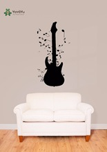 YOYOYU Vinyl Wall Decal Music Notes AroundGuitar Instruments Interior Home Pop Art Decoration Stickers FD092
