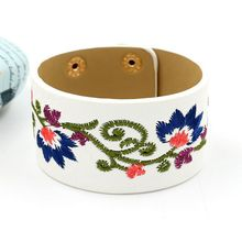 Rainbery Bohemia Embroidery Flower Leather Bracelet Female Fashion Wide PU Leather Bracelets & Bangles Women Femme JB0479(China)