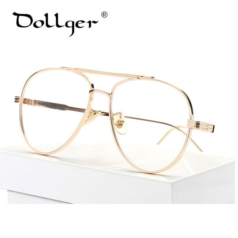 Dollger gold silver Pilot Eyewear Frames Men Brand Big ...