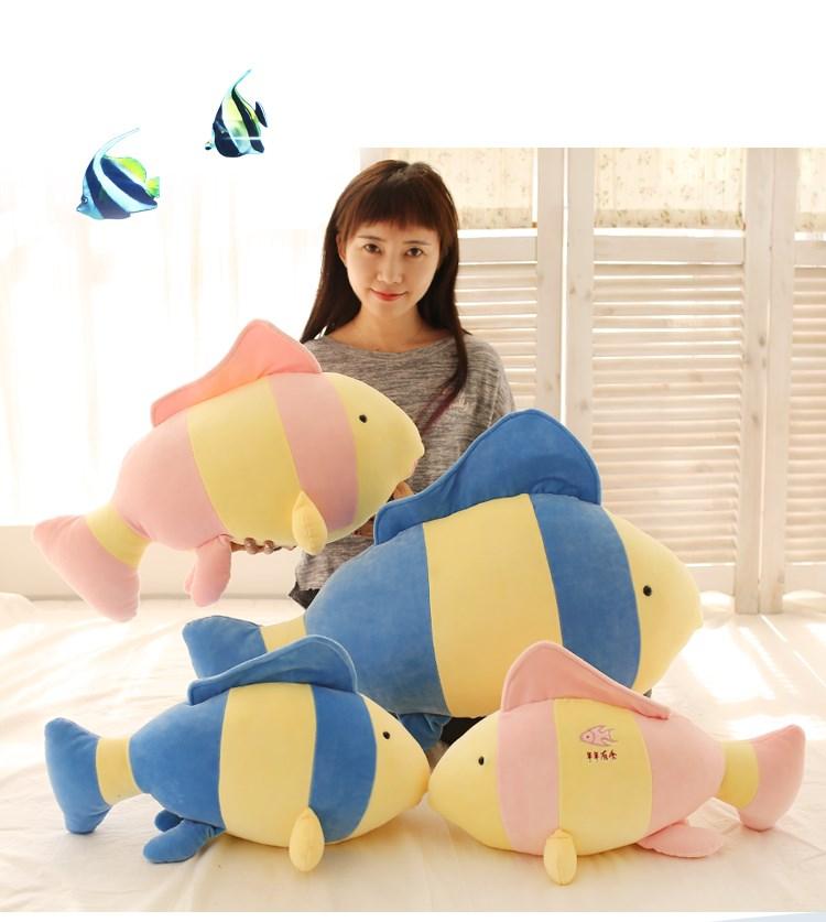 80cm Tropical fish doll clown fish pillow plush toy birthday gift inflatable blue tropical clown fish balloon decoration