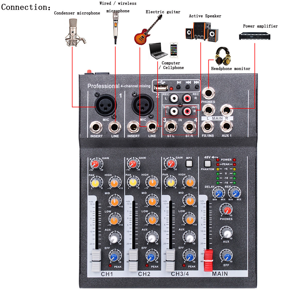 Mini Portable Audio Mixer with USB DJ Sound Mixing Console MP3 Jack 4 Channel Karaoke 48V Amplifier For Karaoke KTV Match Party machine tool