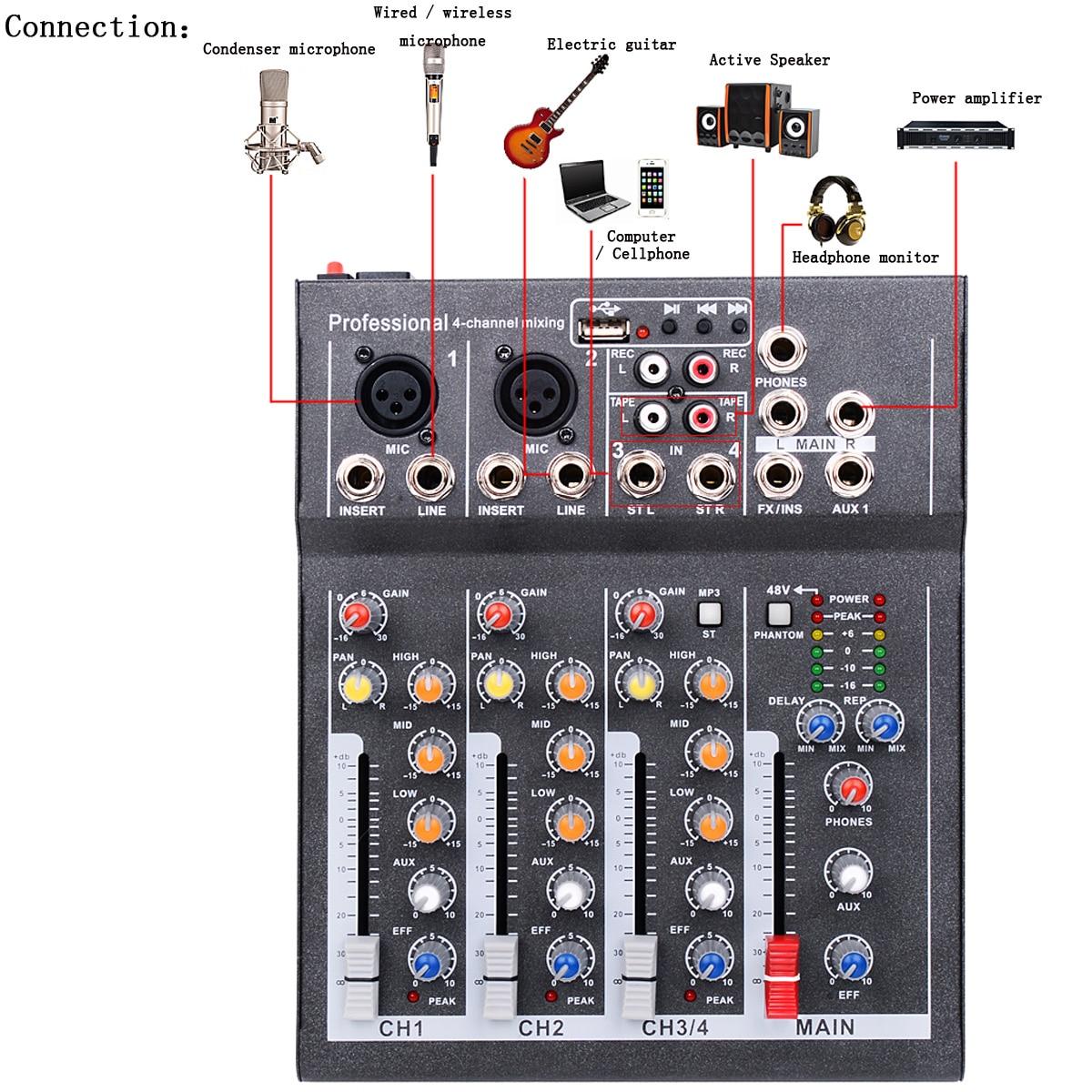 Mini Tragbare Audio Mixer mit USB DJ Sound Mischpult MP3 Jack 4 Kanal Karaoke 48 V Verstärker Für Karaoke KTV Spiel-Party