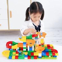Marble Race Run Maze Balls Track Building Blocks Funnel Slide Big Building Brick Compatible Duplo block toys For Children цены