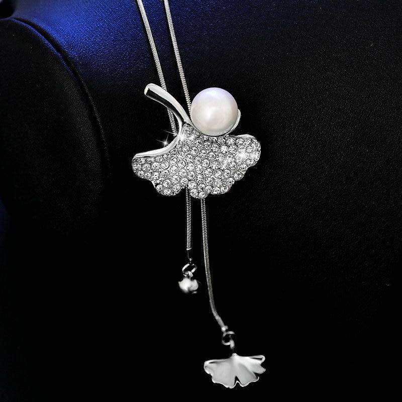 Lovely Ginkgo biloba Leaf Long Beaded Chain Tassel Pendant Necklace Women Office Lady Imitation Pearl Jewelry Bijoux Gifts