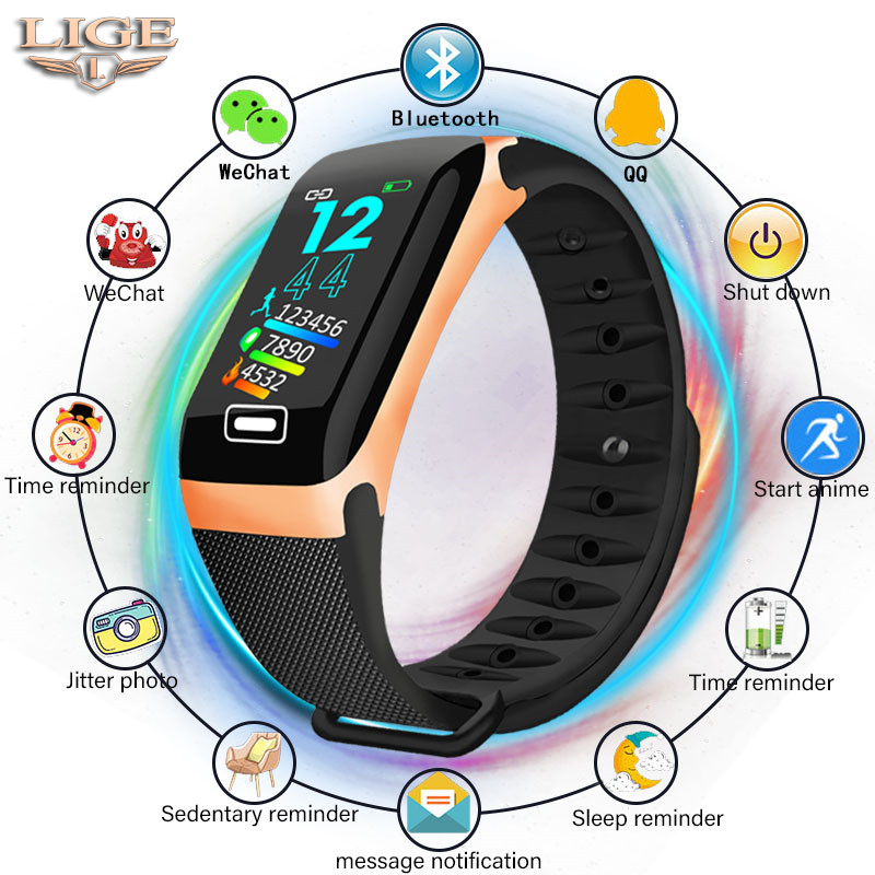 LIGE Smart Bracelet Health Monitor Heart Rate / Blood Pressure / Waterproof Pedometer Men's and Women's Watches Sports Bracelet-in Smart Wristbands from Consumer Electronics